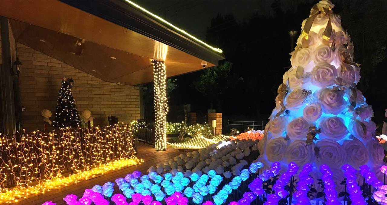 光のお花畑イルミネーション&クリスマスイベント開催 多摩八角堂